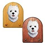 West Highland Terrier Key Leash Holder - Oak Wood, Dark