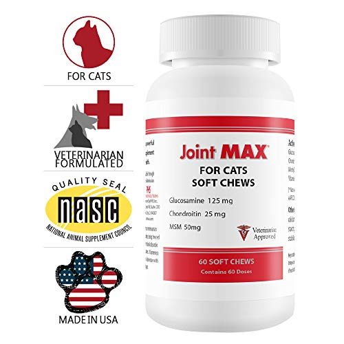 Joint MAX Soft Chews for Cats - Glucosamine, Chondroitin, MSM, Vitamins, Minerals, Antioxidants - Hip and Joint Pain Relief and Support Supplement for Cats - Made in USA - 60 Soft Chews