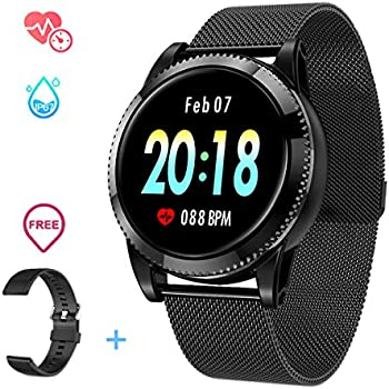 ... Fitness Tracker with Pedometer Notifications Music Control Blood Pressure Heart Rate Monitor Camera Color Touch Screen for Android iOS (Black II)
