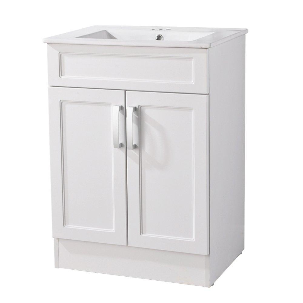 Interiorca Elegant Bathroom Vanity Include Ceramics Sink with 2 doors,White