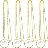 4 Pieces 5.5X Magnifying Glass Necklace Magnifier