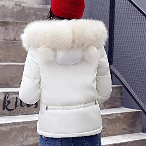 Femme Manche A Longues Veste Branch Poches Capuche Uni Doudoune Style avec Fermeture Chaud Courte Latrales clair Spcial Hiver Manches Blanc Outdoor Manteau Blouson rOIqf0r