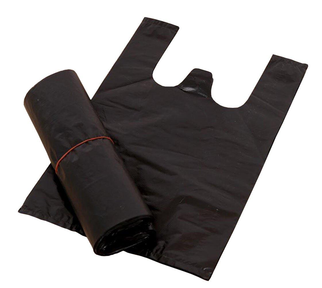 100 21, 8 x 32 cm (22 x 32 cm) schwarz Kunststoff T-Shirt Praktische Takeaway Garbage Bag Weste Tragetaschen fü r Retail Supermarkt Haushalt Lebensmittel Storage-Beutel Markt Takeout Shopping tä glichen Gebrauch TUPW