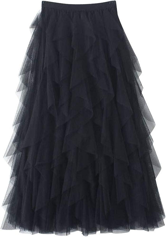 DianShaoA Faldas Tul Mujer Falda Cintura Elástica Tutu Princess Falda De Columpio Irregular Plisada Falda