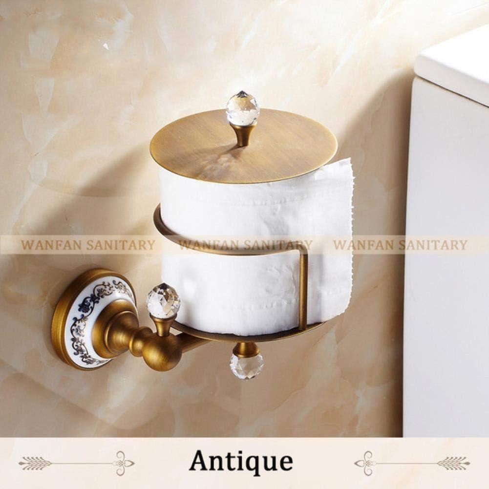 Accesorios de baño de oro del soporte del papel de oro del cuarto de baño del sostenedor del rollo del cartón del cristal de cobre amarillo europeo montado en la pared - antigüedad