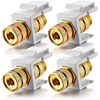White Keystone Banana Jacks With Black & Red Rings Binding Post Audio Speaker (2-Pair/4 Pcs)