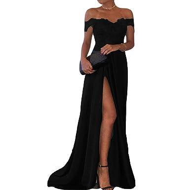 fa6d86a0f015 Off Shoulder V Neck Front Slit Long Lace Prom Evening Party Dresses Black  US 2