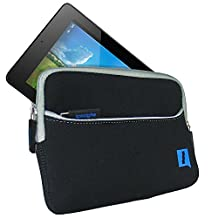 iGadgitz Black Neoprene Sleeve Case Cover with Front Pocket for Acer Iconia One 7 B1-730HD & Iconia One 7 B1-750HD Tablet