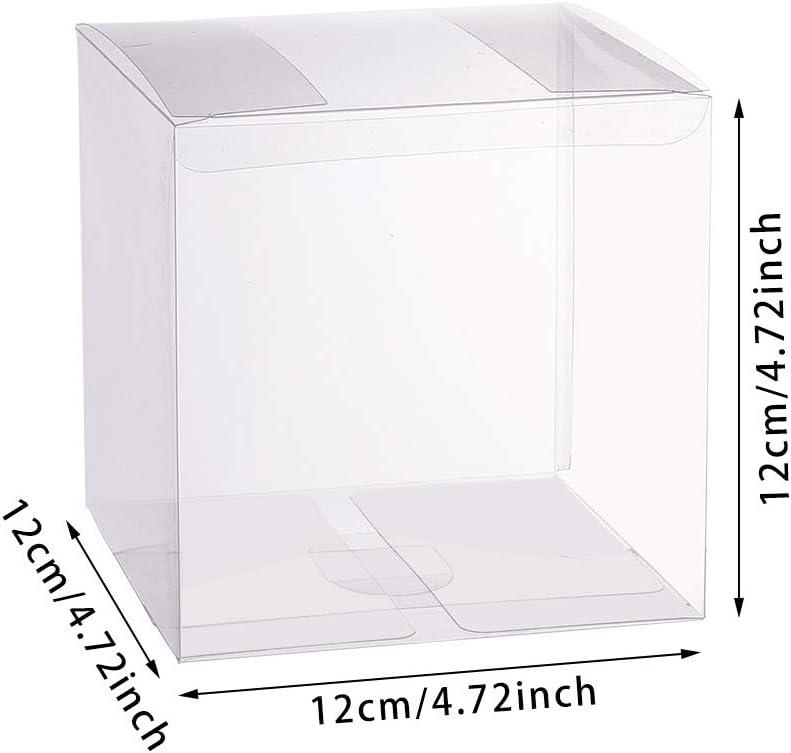 BENECREAT 20PCS PVC Caja Plegable Cajita Pl/ástica 10x10x10cm Envase Transparente de Regalo Contenedor de Dulce Chocolate para Boda Fiesta Cumplea/ños