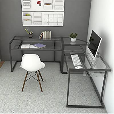 Ryan Rove Belmac Glass Large Modern L-Shaped Desk Corner Computer Office Desk for Small PC Laptop Study Table… - Space-saving L-shape design. Universal, autonomous CPU stand included. Custom C-frame with flat metal tubing. All glass is 6 mm thick. Stylish, contemporary computer desks design. Polished and beveled, tempered safety glass designed to be used as corner desk. Sliding keyboard tray can be mounted on either side of desk with glass top and Free CPU Stand. - writing-desks, living-room-furniture, living-room - 516jz2ZQOxL. SS400  -