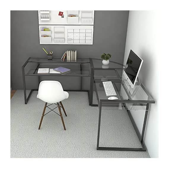 Ryan Rove Belmac Glass Large Modern L-Shaped Desk Corner Computer Office Desk for Small PC Laptop Study Table Workstation Home Office with Keyboard Shelf - Black Frame and Clear Glass - Stylish, contemporary computer desks design. Polished and beveled, tempered safety glass designed to be used as corner desk. Ideal piece for its 33 inch height. Durable L shapped steel frame with a black powder-coat finish. Sliding keyboard tray can be mounted on either side of desk with glass top and Free CPU Stand. Space-saving L-shape design. Universal, autonomous CPU stand included. Custom C-frame with flat metal tubing. Elevated, monitor shelves - writing-desks, living-room-furniture, living-room - 516jz2ZQOxL. SS570  -
