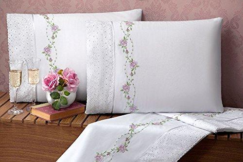 Jogo de Lençol Bouquet Queen 04 Peças - Branco
