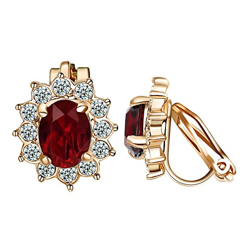 Yoursfs Burgundy Clip Earrings For Women Red Crystal Vintage Style 18K Rose Gold Plated Ruby Halo Earrings