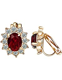 Clip on Earrings For Women Purple Crystal & Small Cubic zirconia Floral Clip Earrings
