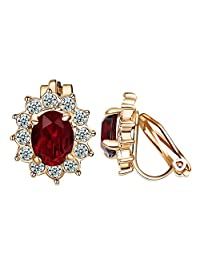 Yoursfs Trendy Clip on Earrings for Women 18k Gold Plated Use Elegent Crystal Jewelry for Ladies Gift
