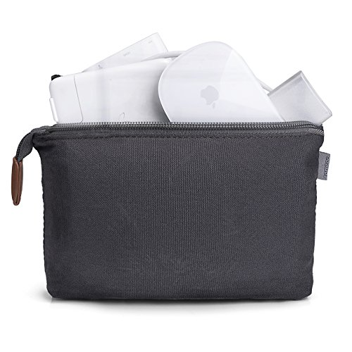 Tomtoc Portable Storage Pouch Bag Case Accessories Organizer for MacBook Laptop Mouse, Power Adapter, Cables, Cellphone, SSD, HDD Enclosure, Power Bank - Dark Gray Electronics Pouch