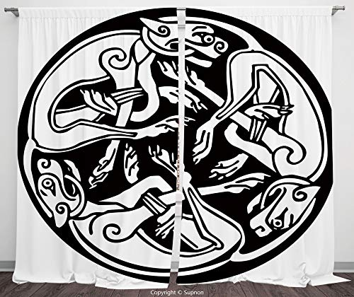 (Rod Pocket Curtain Panel Polyester Translucent Curtains for Bedroom Living Room Dorm Kitchen Cafe/2 Curtain Panels/55 x 45 Inch/Celtic,Three Dogs Biting Their Tails Animal Forms Vikings Heritage)