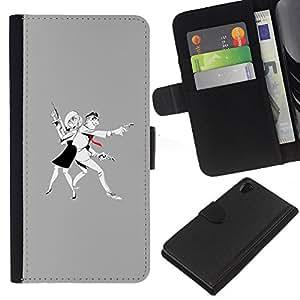 A-type (Hombre Mujer Penal Pistola Arte Dibujo) Colorida Impresión Funda Cuero Monedero Caja Bolsa Cubierta Caja Piel Card Slots Para Sony Xperia Z2 D6502