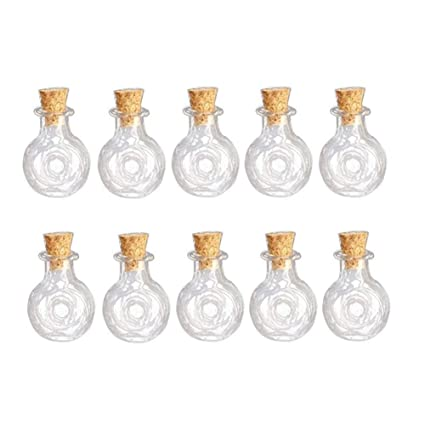10pcs Mini Empty Cork Glass Wish Bottles Vials Jars DIY Craft Charm Pendants
