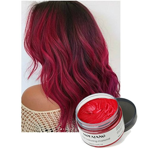 (Vakker Mofajiang Hair Wax Color Styling Cream Mud, Natural Hairstyle Dye Pomade, Party Cosplay,)