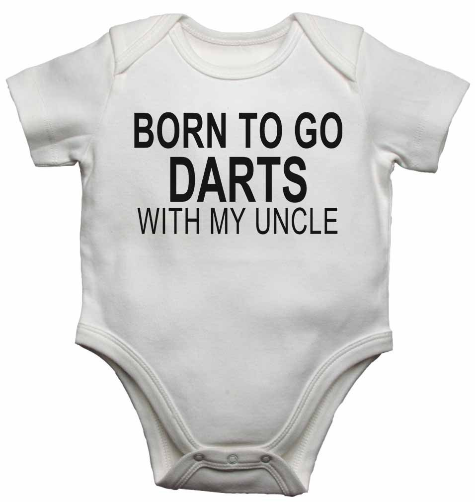 New Baby Vests Bodysuits for Boys Girls Gift Born to Go Darts with My Uncle