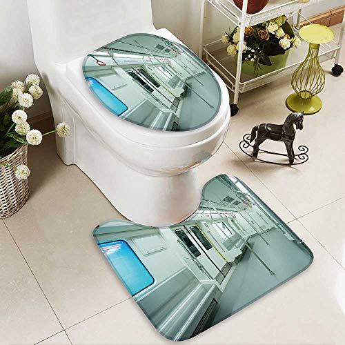 Analisahome Toilet carpet floor mat interior view of a subway car 2 Piece Shower Mat ()