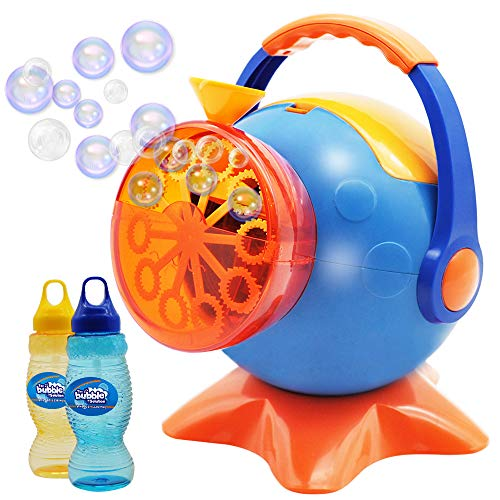 Bubble Machine, Automatic Bubble Blower Durable Bubble Maker with 2 Bottles of 250 mL Refill Bubble Solutions; 800+ Bubbles per Minute for kids, Summer Toy Party Favor, Birthday, Outdoor Activity -