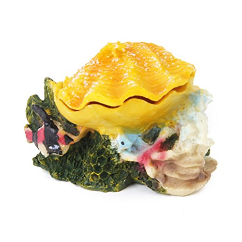 WINOMO Aquarium Ornament Fish Tank Bubbling Shell Rock Decoration (Yellow)