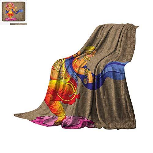 Traditional Lightweight Blanket Dancing Eastern Religious Icon of Wisdom Pantheon Ancient Spiritual Lord Print Velvet Plush Throw Blanket 60