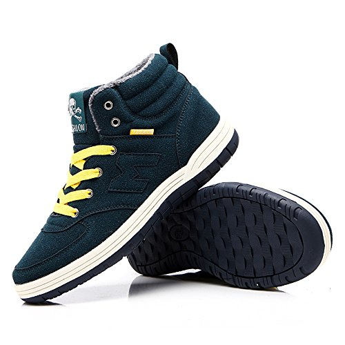 Do.BOMRVII Mens Casual Winter Warm Snow Boots Skate Shoes High Top Sneakers With Velvet Dark Green QwzoTfSQ