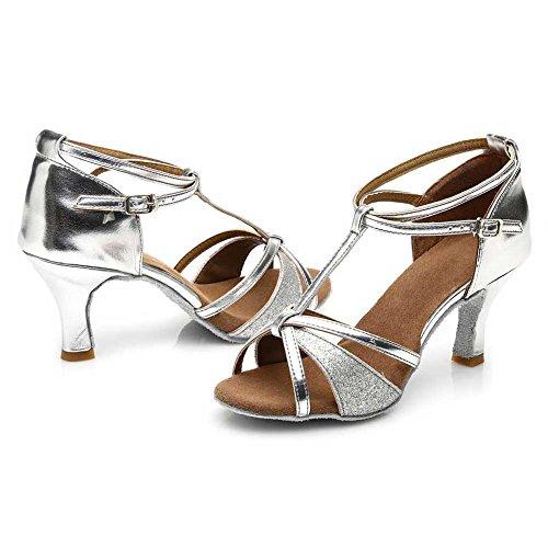 HROYL Damen Latin Dance Schuhe Satin Ballroom W7-W09 Silber