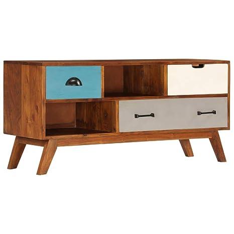 vidaXL Madera Maciza Acacia Mueble de TV con 3 Cajones 110x35x50cm ...
