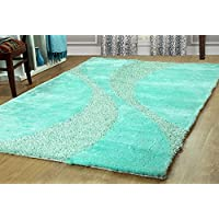 Furnish my Place Hand Woven Soft and Plush Modern Silky Shag Area Shag for Indoor Home Bedroom Living/Dining Room, Aqua Two Tone 815