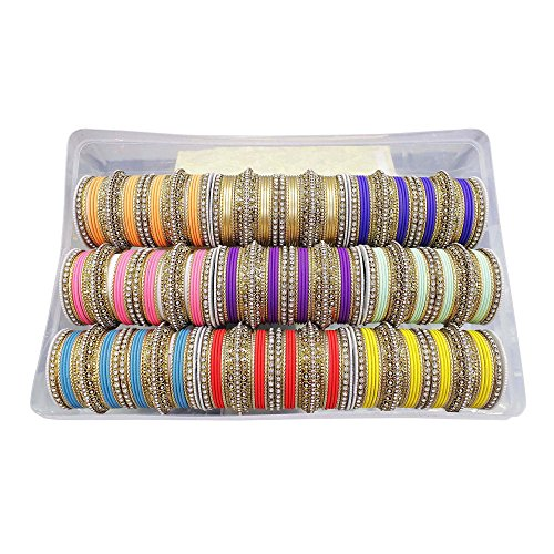 MUCHMORE Awesome Bollywood Fashion Indian Bangles Box Multi Color Party wear Bangles Jewelry (2.10) by Muchmore