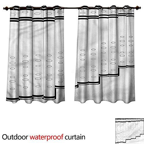 cobeDecor Panpipe Outdoor Curtains for Patio Sheer Pan Flute Tubes Monochrome W55 x L45(140cm x 115cm)