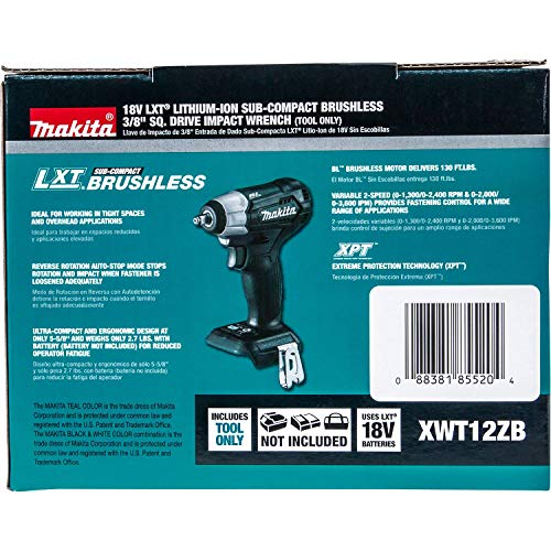 Makita XWT12ZB 18V LXT Lithium-Ion Sub-Compact Brushless Cordless 3/8'' Sq. Drive Impact Wrench, Tool Only by Makita (Image #8)
