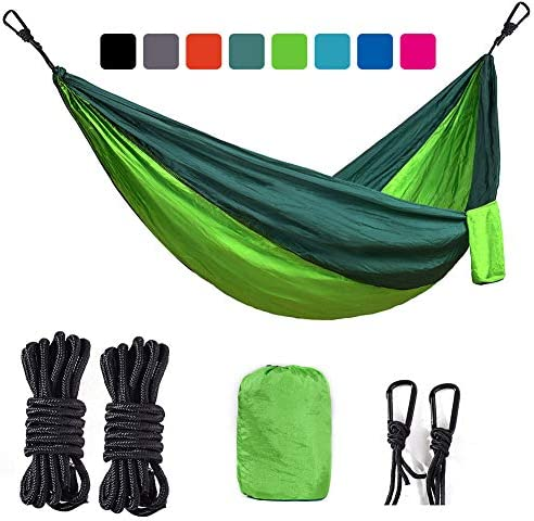 BEMAIN Camping Hammock Outdoor Lightweight Double Single Portable Nylon Parachute Hammocks for Hiking Travel Beach Yard Gear Includes Straps and Steel Carabiners Bright Green Dark Green, Full