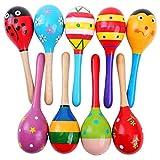 Tinksky 2pcs 20cm Funny Children Kids Wooden Maracas Rattle Shakers Musical Educational Toys (Random Color Pattern)