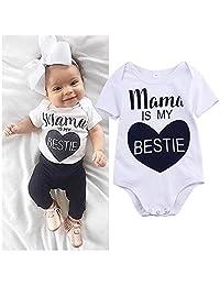 Newborn Baby Boys Girls Romper Mama is My Bestie Short Sleeve Summer Bodysuit