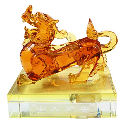 Feng Shui Colored Glaze Pixiu Pi Yao on Crystal Base Statue for Car Symbol for Wealth(Yellow)