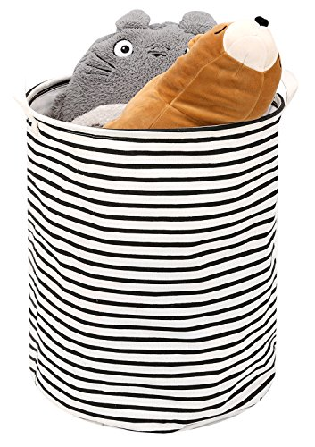 Toy Storage Bin / Laundry Hamper, Zooawa Large Collapsible Organizer Bin Waterproof Foldable Standing Toy Chest Basket with Drawstring & Handles - Black + White Stripe by Zooawa