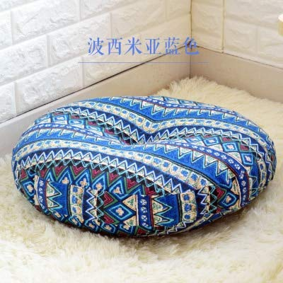 Japanese Style Floor Pillow Cushion Cotton Soft Thicken Round Yoga Mat Meditation Pads Chair Back Seat Cushions Tatami Throw Pillows for Office Car Sofa Chair Home Decorations -Diameter 45cm by Vnhome