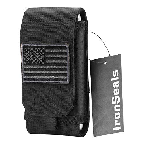 IronSeals Tactical MOLLE Pouch, Large Heavy Duty Tatical Molle Loop Belt Pouch Cellphone Holster with Flag Patch for iPhone X/8P/8/7P/7, Samsung Note8/5, Galaxy S9/S8+/S8/S7/S10e/S10/S10plus HUAWEI LG