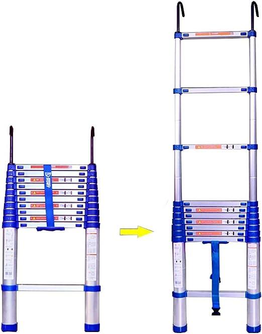 ZR- Escaleras telescópicas Escalera de extensión de aluminio con gancho, Escalera recta plegable plegable extensible portátil de DIY para el hogar de la ingeniería de la oficina del desván -Fácil de a: