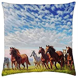 Wild Horses Painting - Throw Pillow Cover Case (18