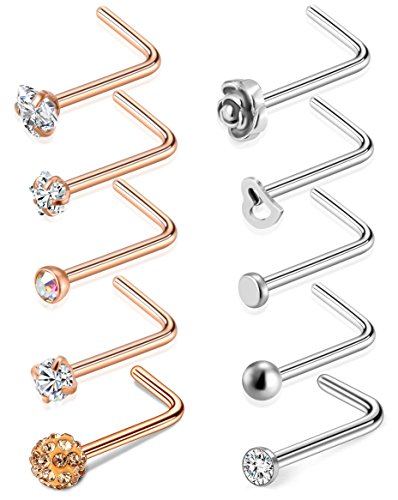 Tornito 20G 8Pcs Stainless Steel L Shaped Nose Ring CZ Nose Stud Retainer Labret Nose Piercing Jewelry (D:10Pcs,Silver Tone&Rose Gold -