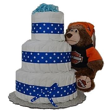 Amazon Blue Harley Davidson Baby Boy Diaper Cake 3 Tier