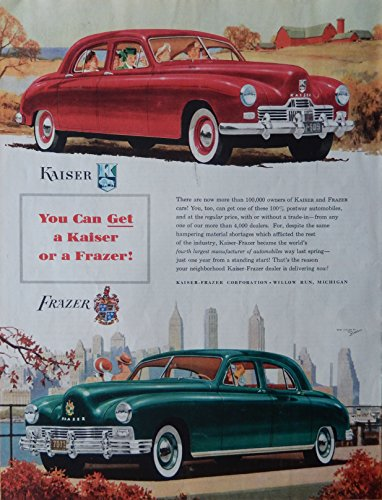 1947 Kaiser and Frazer Cars. 40's Print ad. Full Page, used for sale  Delivered anywhere in USA