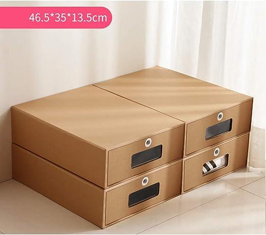 ALXDR 4PCS Cajas De Zapatos De Cartón para Botas Apilables, Caja De Almacenamiento De Papel Kraft De Doble Capa con Ventanas Transparentes: Amazon.es: Hogar