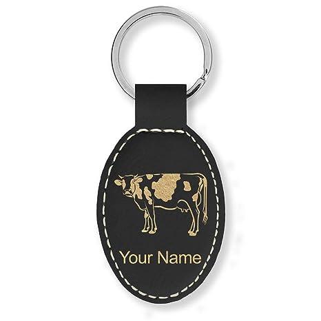 Amazon.com: Llavero ovalado de piel sintética, vaca, grabado ...